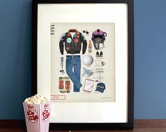 Top Gun (1986) - Tom Cruise, Movie Poster, Art Print, Illustration, Vintage Inspired Wall Art