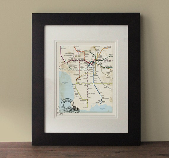 Los angeles map vintage inspired map los angeles wall art - Vintage inspired wall art ...