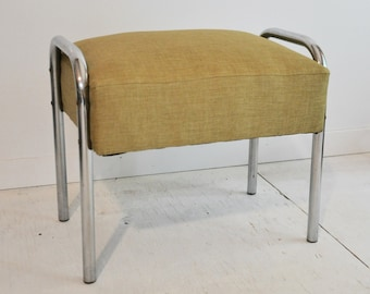 Vintage Foot Stool with Chrome Legs and Upholstered Seat