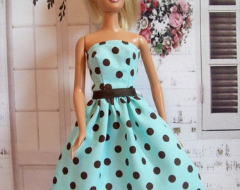 Handmade, Barbie Doll Clothes, Aqua and Brown,  Polka Dot, Doll Dress, Fashion Doll Clothes, Barbie Dress, Barbie Clothing, Modest Dress