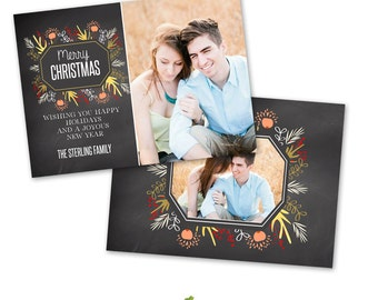 INSTANT DOWNLOAD 5x7 Christmas Card Photoshop Template - CA589