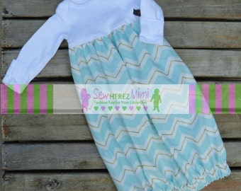 Coming Home Outfit Aqua Gold Chevron Preemie Newborn 3 mos 6 mos Layette Gown