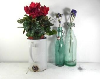 French vintage white enamelware, irrigator, utensil holder. French enamelware, French country decor, farmhouse kitchen, French antiques.