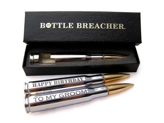 Groomsman Gift. Engraved 50 Caliber Bullet Bottle Opener with Bottle Breacher Gift Box. Groom Gift. Father of the Bride Gift. Groomsman Gift