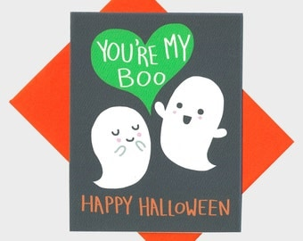 Funny Halloween Card - You're My Boo - Happy Halloween Card - Halloween Anniversary Card - I Love You Card - Ghost Love Card - Funny Card