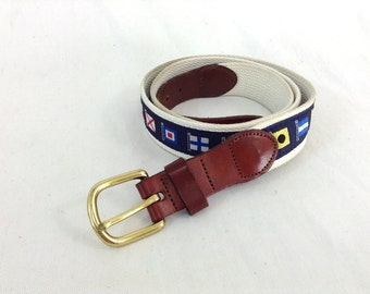 """Leather and Woven Nautical Flag Belt """"Leather Man Ltd."""" - size 40"""