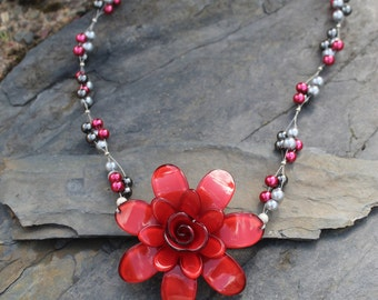 Red Flower and Pearl Statement Necklace.