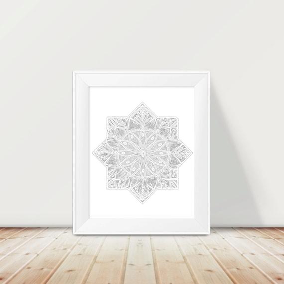 Grey Star Wall Decor : Items similar to moroccan art print star wall grey
