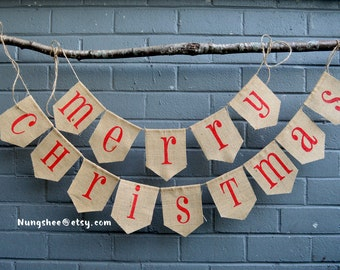 CLASSIC MERRY CHRISTMAS Banner - Christmas Banner - Christmas Garland - Christmas Sign - Burlap Christmas Banner - Christmas Decorations