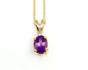 Yellow Gold Amethyst and Diamond Pendant