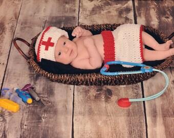 NURSE Hat & Nurse Skirt 2 piece set ,sizes Preemie Newborn 0-3 month, 3-6 month,6-12 month Halloween Costume
