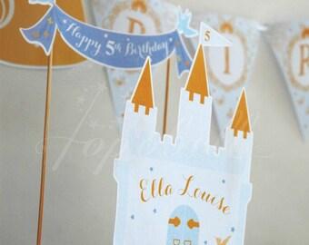 Cinderella Cake Topper for Cinderella Birthday Party. Castle Cake Topper for Princess Birthday. DIY Castle Centerpiece printable. DIGITAL.