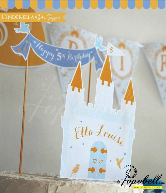 Cinderella Cake Topper For Birthday Party Castle Princess DIY Centerpiece Printable DIGITAL From Popobell On