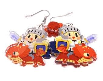 Dragon Knight Earrings, cute dragon, cute knight, chibi, kawaii charm, anime gift, anime lover, dragon gift, kawaii earrings