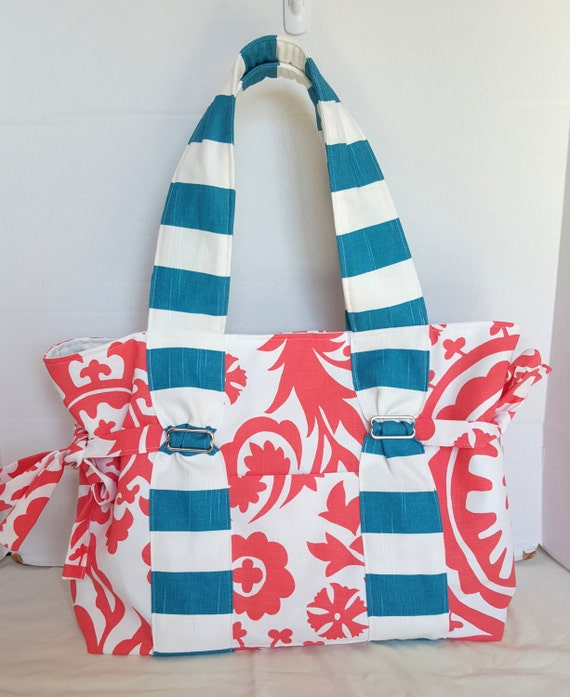 Large Coral Damask Diaper Bag
