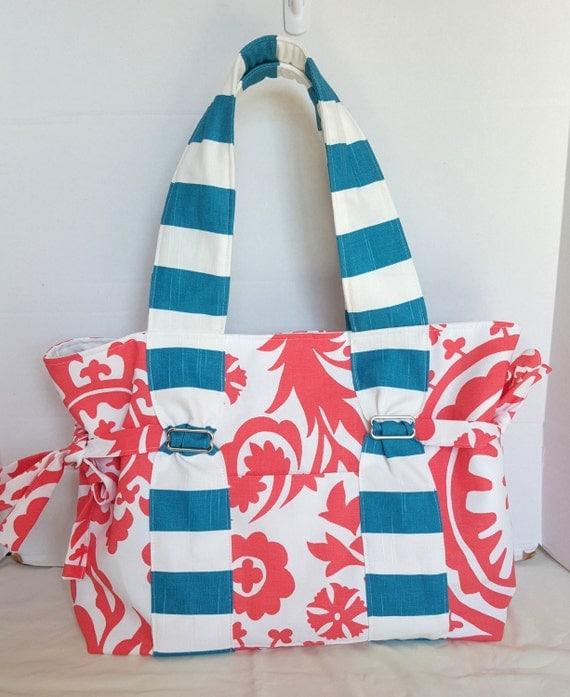 Large Coral Damask Diaper Bag