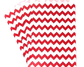 10 Medium RED Chevron Paper Food Safe Craft Favor Bags by Whisker Graphics