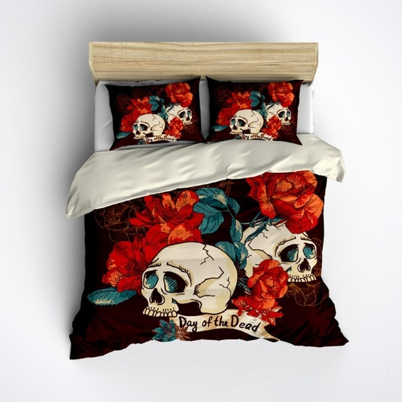 Featherweight Day of the Dead Bedding Dark Brown by InkandRags