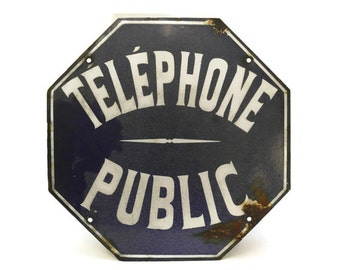 French Telephone Sign. French Blue and White Street Sign. Public Telephone French Enamel Sign. Industrial Octagon Sign.