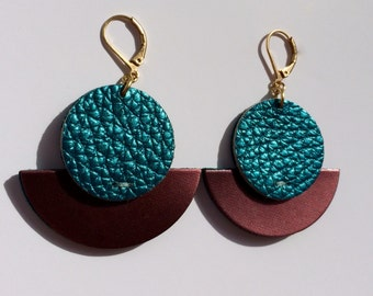 Sun and moon iridescent blue and plum leather earrings