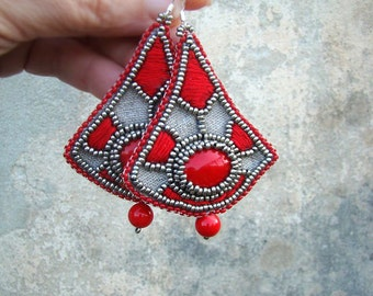 Ethnic earrings with red embroidery Bead embroidered earrings Long Dangling Earrings Red coral
