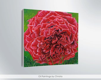 On sale Rose Painting Oil painting Rose Wall decor Home decor Rose ART Red rose Floral art  Birthday gift Nature art Fine art Red art