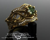 Organic Woven Elven knot work woven engagement ring with Zelda Green diamond in heavy 18kt satin European yellow gold. Unusual wedding band