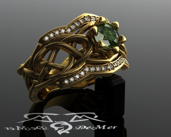 Organic Woven Elven knot work woven engagement ring with Zelda