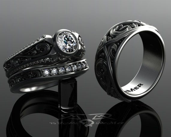 Scrollwork engraved diamond wedding set Engagement Ring and
