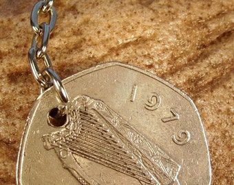 1978 Old Large 50p Fifty Pence Irish Coin Keyring Key Chain Fob 40th Birthday Caoga Pingin