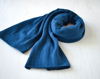 XXL scarf warm shoulder shawl big and blue stole knitted from merino wool with angora
