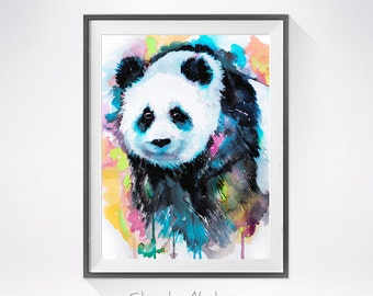 Panda watercolor painting print, Panda art, animal art, Panda illustration, animal watercolor, bear art, bear watercolor,