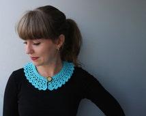 Peter Pan Collar - Mercerized Cotton Yarn / Crochet Romantic Textile Necklace / Blue / Baby blue / Teal / Aquamarine / Aqua / Sea-blue