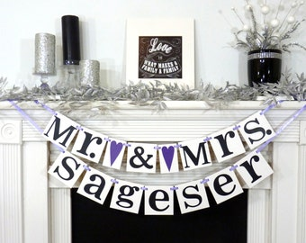 Mr and Mrs. Last Name Custom Banner / Wedding Couple / Wedding Shower / Engagement Wedding Decor / Wedding Decor / Reception / Custom Colors