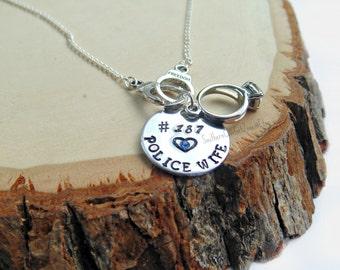 Police Wife Necklace- Police Officer Love - Police Girlfriend - Police Mom - Sheriff Wife - Trooper Wife Jewelry - Deputy Wife Metal Stamped