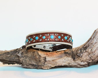 Leather Dog Collar // Cream and Brown w Turquoise