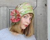 Nuno Felt Hat, Felted Hat, Felted Wool Hat, Easter Hat, Kentucky Derby Hat, Flower Bonnet, Easter Bonnet, Retro Spring Wedding Hat, Cloche