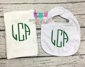 Baby boy monogrammed Burp Cloth Bib set - Baby Girl Personalized Gift Set- Personalized Baby gift