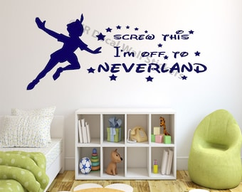 peter pan wall decal etsy. Black Bedroom Furniture Sets. Home Design Ideas