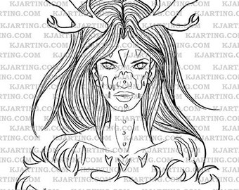 Druid Nature Antlers Dryad Mystic Shaman Fur Warpaint Facepaint Digital Stamp ( Digi-Stamp 021)