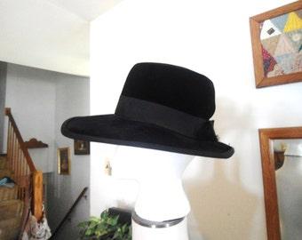 Black Velvet Hat Wide Brim Hat Square Brim Hat
