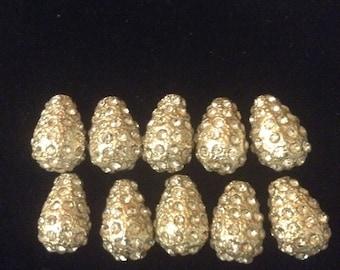 Silver Rhinestone Tear Drop Beads