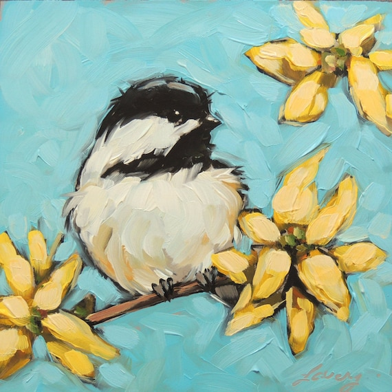 Chickadee Painting Original Impressionistic Oil Painting Of A