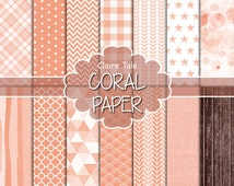 Coral digital paper, Coral scrapbooking paper, Coral printable party invitation paper, Coral digital background, Coral digital patterns
