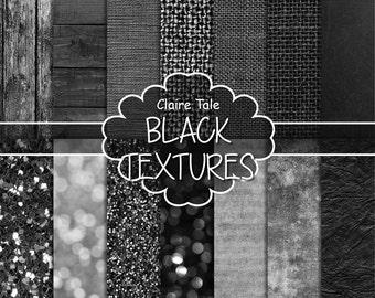 Digital black textures, black digital paper, black paper, textured backgrounds, black scrapbook paper, black backgrounds, black printable