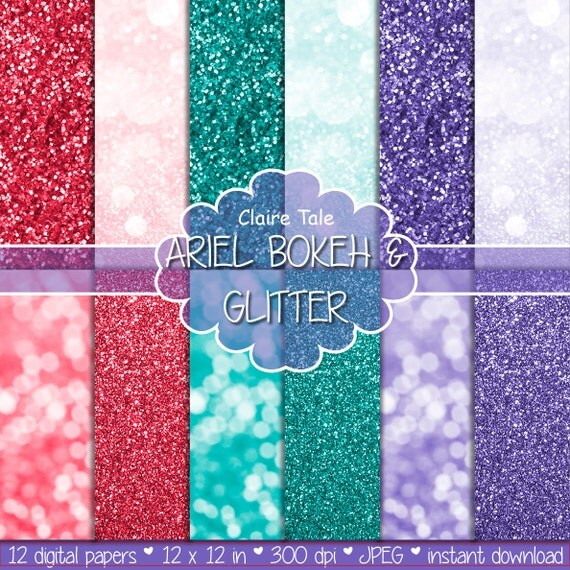 "Ariel digital paper: ""ARIEL BOKEH & GLITTER"" with glitter and bokeh backgrounds in purple, lavender, green and red"