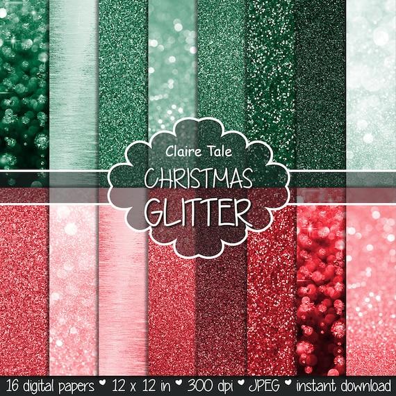 "Christmas bokeh paper: ""CHRISTMAS BOKEH & GLITTER""  photo backdrop / christmas glitter paper / sparkles backgrounds in red and green"