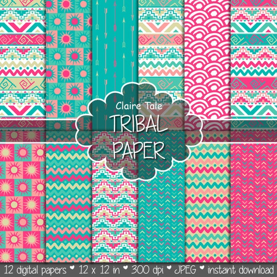 "Tribal digital paper: ""TRIBAL PAPER"" with tribal patterns and tribal background, arrows, feathers, chevrons in pink, blue gold"