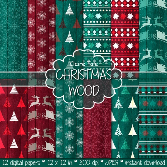 """Christmas paper: """"CHRISTMAS WOOD"""" backgrounds with rustic christmas backgrounds, wood grain christmas, grungy x-mas"""