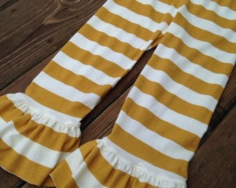 Ruffle pants for baby, toddler, girls - capris or pants. Wide leg. Heather gray, navy blue, mustard yellow stripe, mocha, rust red